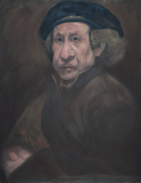 A caricature of a self portrait by Rembrandt